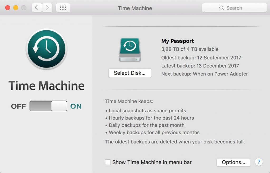 Time Machine Backup externe Festplatte