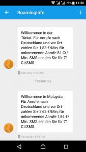 Telefonieren im Ausland - Info Roaming-Gebühren per SMS