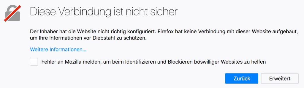 """Browser-Warnung: """"Diese Verbindung ist nicht sicher"""""""