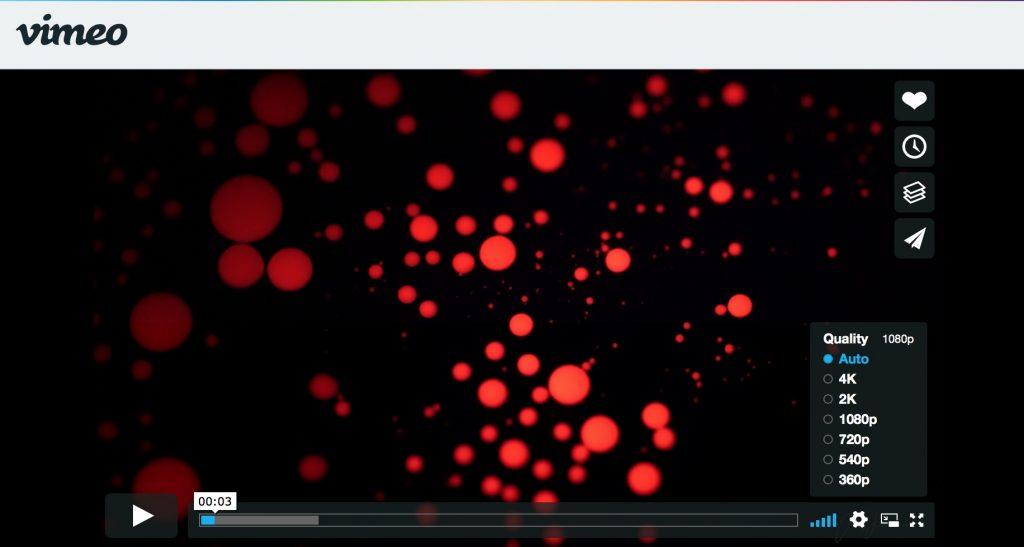 Datenvolumen bei Vimeo je nach Streaming-Qualitaet