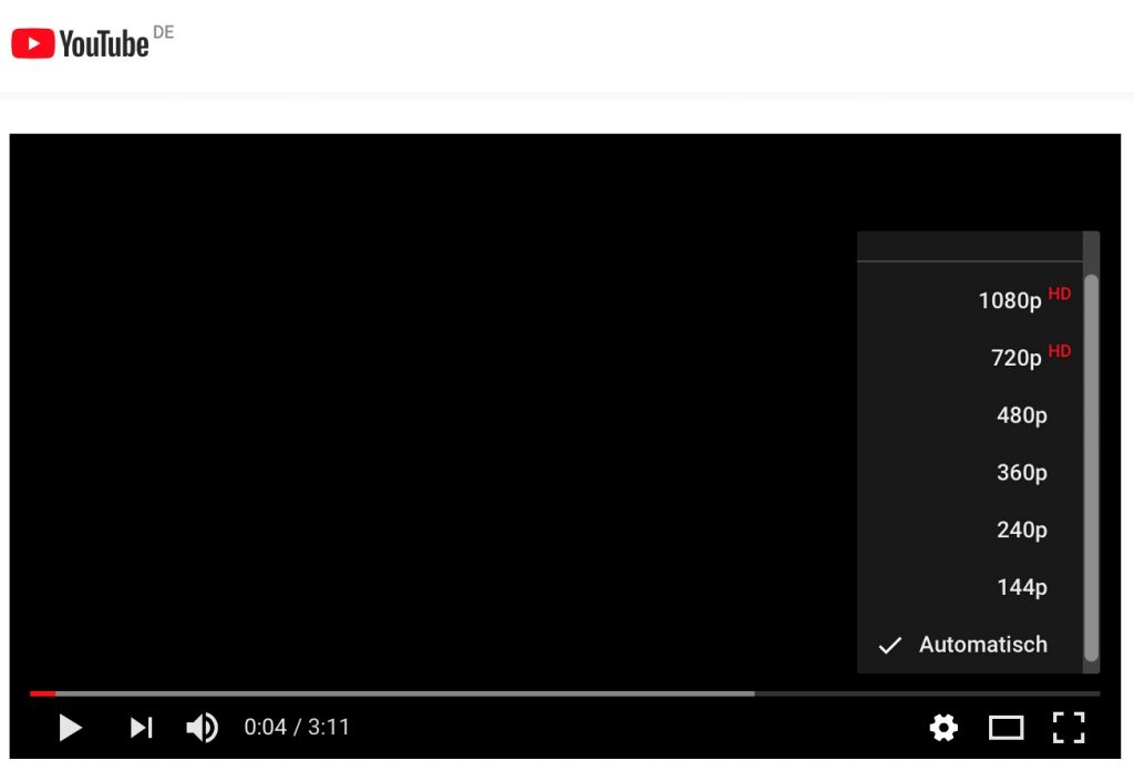 Datenvolumen bei YouTube je nach Streaming-Qualitaet