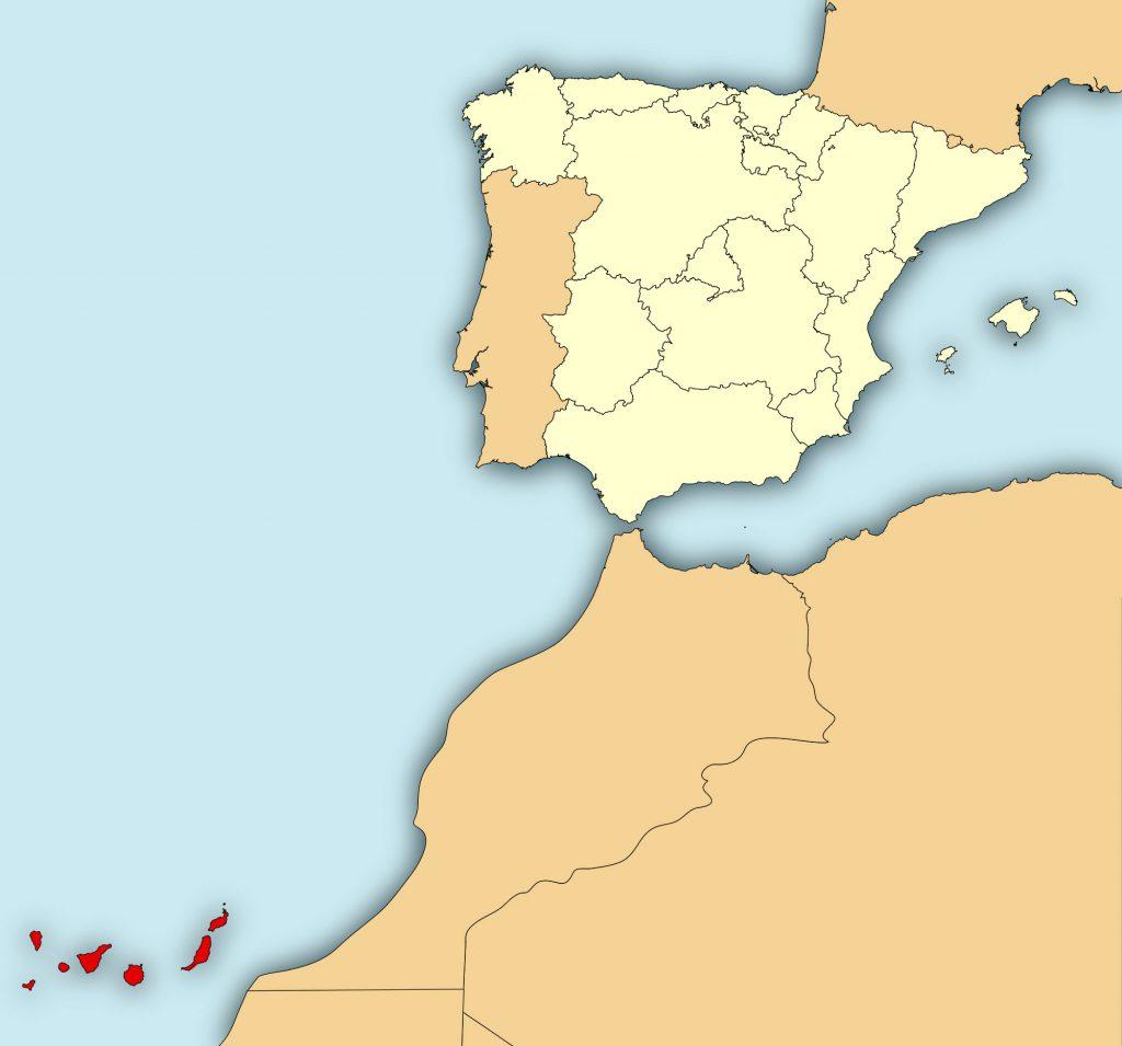 Karte Kanarische Inseln und Europa
